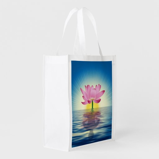 Lotus Reflection Reusable Grocery Bags