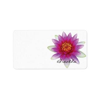 Lotus respira etiquetas de dirección