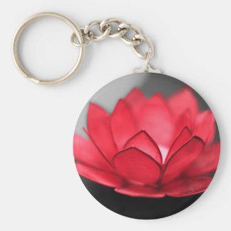 Lotus rojo llavero redondo tipo pin