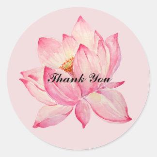 Lotus rosado le agradece pegatina redonda