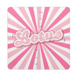 Lotus rosado posavasos de puzzle