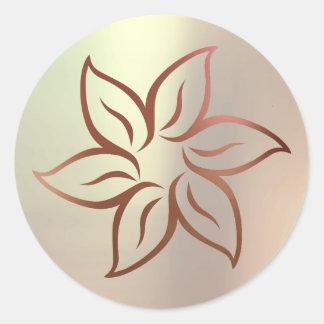 Lotus Rose Gold Blush Metallic Mandala Ornament Classic Round Sticker