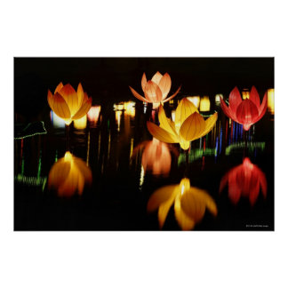 Lotus shaped lanterns for mid autumn festival poster