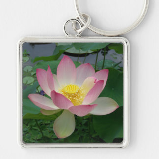 LOTUS Silver-Colored SQUARE KEYCHAIN