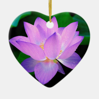 lotus water romantic date bridal peace hope love Double-Sided heart ceramic christmas ornament