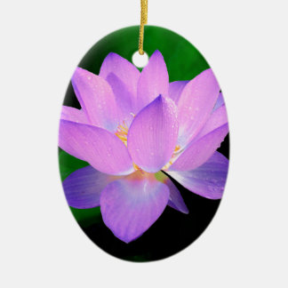 lotus water romantic date bridal peace hope love Double-Sided oval ceramic christmas ornament