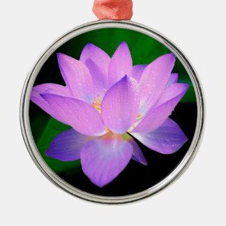 lotus water romantic date bridal peace hope love round metal christmas ornament