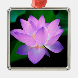 lotus water romantic date bridal peace hope love square metal christmas ornament