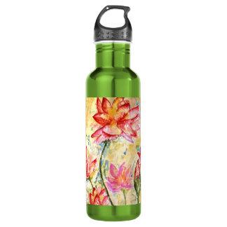 Lotus Watercolor Design 24oz Water Bottle