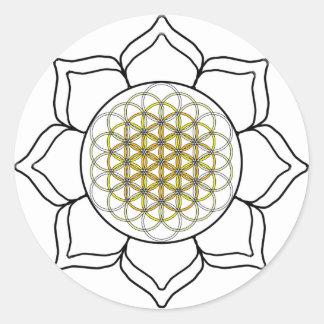 Lotus White2 Pegatina Redonda