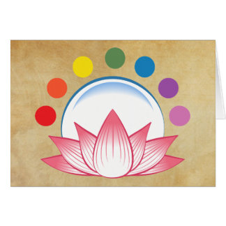 Lotus with chakra greeting cards