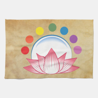 Lotus with chakra kitchen towel