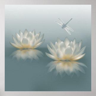 Lotus y poster de la libélula póster
