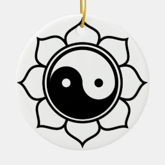 Lotus Yin Yang Christmas Tree Ornament