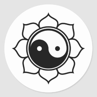 Lotus Yin Yang Classic Round Sticker