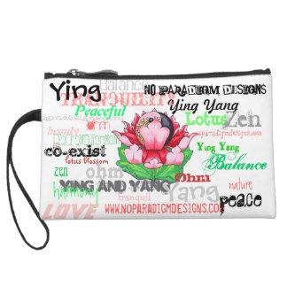 Lotus Ying Yang Ohm Wristpurse Suede Wristlet Wallet