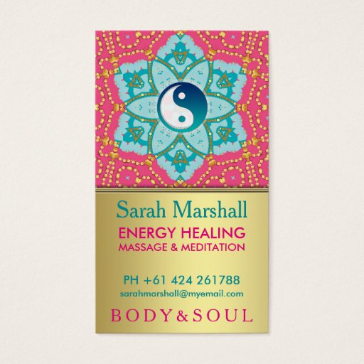 Lotus Yoga Aqua Pink Gold Business Card