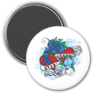 Lou Gehrigs Twin Hearts Tattoo 3 Inch Round Magnet