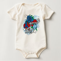 Lou Gehrigs Twin Hearts Tattoo Baby Bodysuit