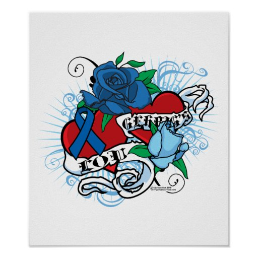 Lou Gehrigs Twin Hearts Tattoo Poster
