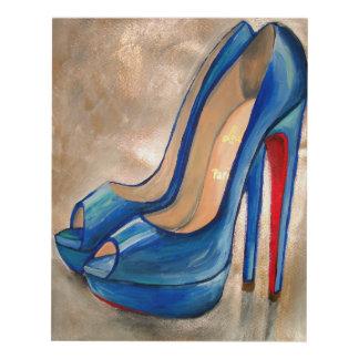 Louboutin Red Bottom High Heels Blue Peep Toe Pump Panel Wall Art
