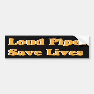 Loud Pipes Save Lives (Orange on Black) Bumper Sticker