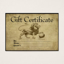 Loud & Proud Lion- Prim Gift Certificate Cards