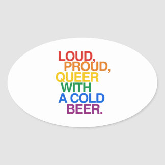 LOUD PROUD QUEER WITH A BEE OVAL STICKER