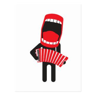 loud singing accordion player post card