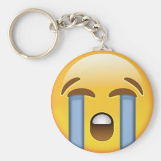 Loudly Crying Face Emoji Keychain
