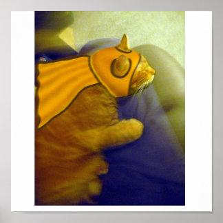 Louie el gato del jengibre como capitán Me-Ow Póster