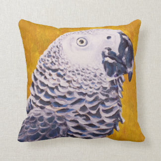 Louie the African Grey Parrot Throw Pillow