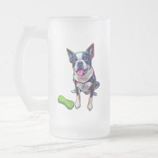 Louie the Boston Terrier Frosted Glass Beer Mug