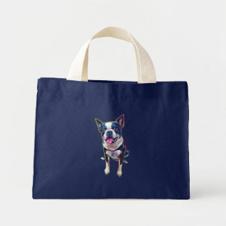 Louie the Cute Boston Terrier Mini Tote Bag