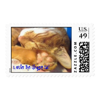 Louie the Ginger Cat Sleeps Postage Stamp