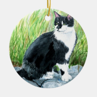 Louie the Tuxedo Cat Ceramic Ornament