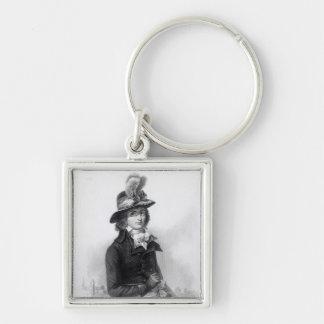 Louis Antoine de Saint-Just Silver-Colored Square Keychain