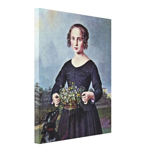 Louis Ferdinand von Rayski - Portrait of a girl Stretched Canvas Print