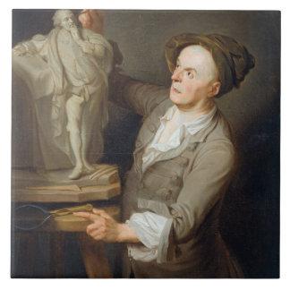 Louis-Francois Roubiliac (1695-1762) Modelling his Ceramic Tiles