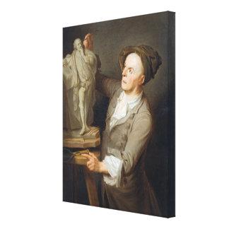 Louis-Francois Roubiliac (1695-1762) que modela el Impresión De Lienzo