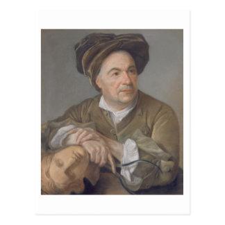 Louis Francois Roubiliac (1702-62) (pastel on pape Postcard