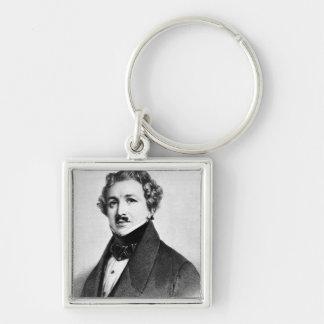 Louis Jacques Mande Daguerre Silver-Colored Square Keychain
