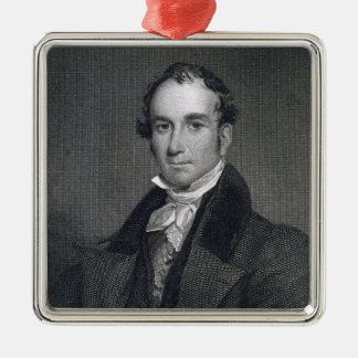 Louis McLane, engraved by Thomas Kelly (c.1795-c.1 Square Metal Christmas Ornament