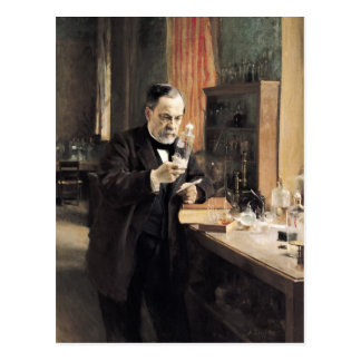 Louis Pasteur en su laboratorio, 1885 Postal