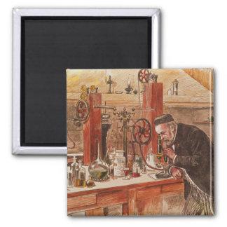 Louis Pasteur experimenting 2 Inch Square Magnet