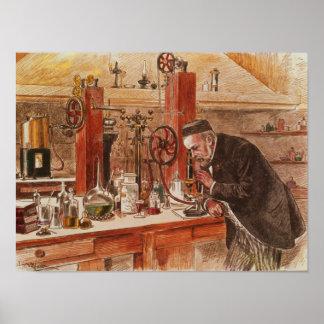 Louis Pasteur experimenting Poster