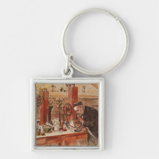 Louis Pasteur experimenting Silver-Colored Square Keychain