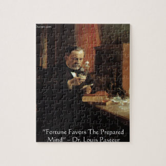 """Louis Pasteur """"Fortune"""" Quote Gifts & Tees Jigsaw Puzzle"""