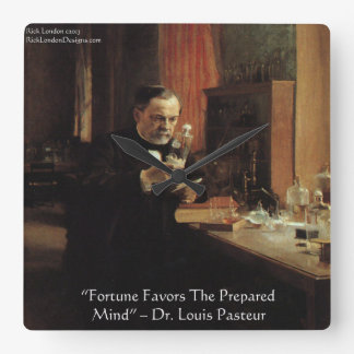 "Louis Pasteur ""Fortune"" Quote Wall Clock"