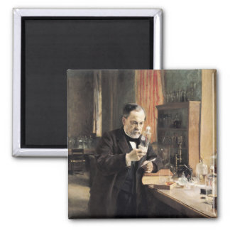 Louis Pasteur  in his Laboratory, 1885 2 Inch Square Magnet